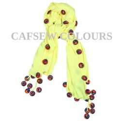 Yellow Poly Crepe Scarves