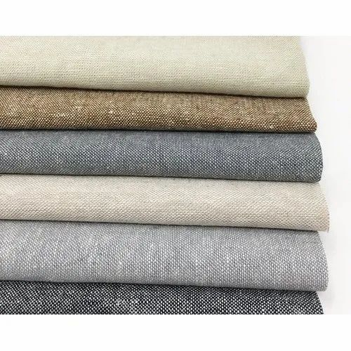 Embroidered Pure Linen Fabric, GSM: 150-200