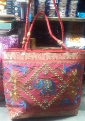Red White Embroidery Work Designer Bags