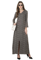 Rayon V Neck Full Sleeve Printed Long Maxi Dress