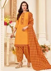 Checks Printed Handloom Cotton Punjabi Suits Collection