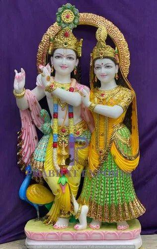Colourful Marble Jugal Radha Krishna Statue