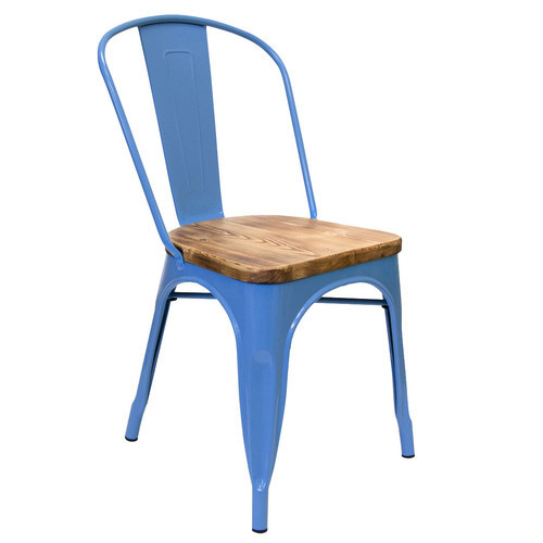 Beau Light Blue Color Metal Chair With Wooden