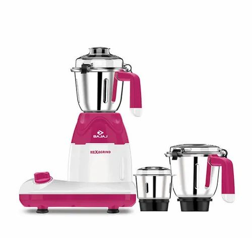 White And Red Bajaj Hexagrind 600-WattMixer Grinder With 3 Jars