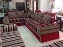 Red ( Choicable) Salwood L Shape Sofa Cumbed