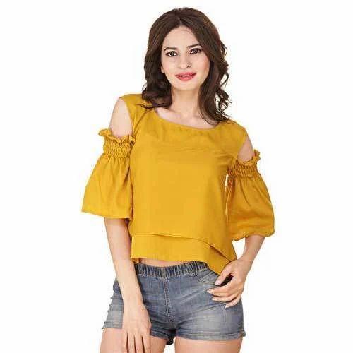 c4432483d9f56c L Mustard Ladies Plain Cold Shoulder Top