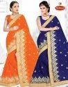 Dyed Georgette Heavy Embroidery & Diamond work Saree with Lace - Ranjeeta