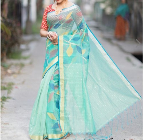 Party Wear Siquence Silk Tant Saree, 6 m (with blouse piece)