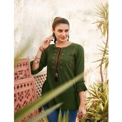 Stitched Straight Ladies Cotton Embroidered Top