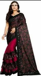 Party Wear Floral Print Printed Sarees 6 m (With Blouse Piece)