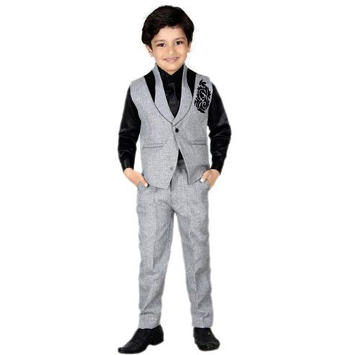 2494eb5a2 Grey And Black Wedding Wear Designer Kids Coat Pant