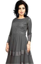 Black Lavishing And Attractive Eclipse Grey Colored Grey Gown
