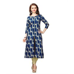 Printed Front Cut Cotton Kurti