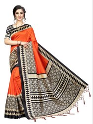 Banarasi Art Silk Party Wear Orange Saree Blouse Piece