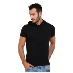 Men's Cotton Black Hooded T-shirt, Size: S to L