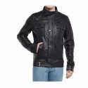 Men's Buckle Style Closure Black Leather Jacket