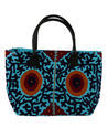 Grayish Blue Canvas Floral Embroidered Designer Tote Bag