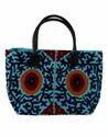 Grayish Blue Canvas Floral Embroidered Designer Tote Bag