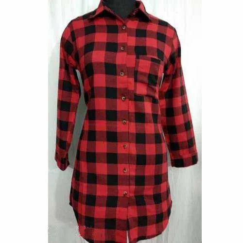8c0e52ae68 Ladies Long Checked Shirt