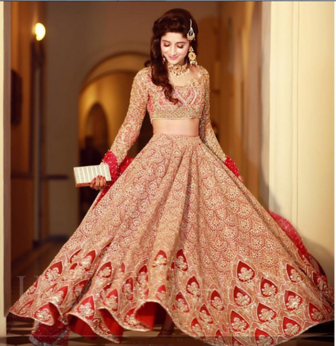 red hand embroidered bridal lehenga at rs 50000 ounce