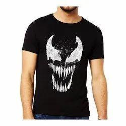 Cotton Round Mens Glow In Dark Casual Wear 3D Printed T Shirt, Size: S-XXL