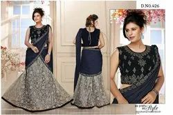 Silk Party wear One Minute Saree, With blouse piece