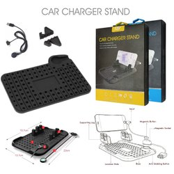 Dashboard Black Silicone Car Charger Stand with Mobile Holder