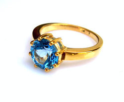 Ringello Dark Blue Topaz Gold Filled Setted Handcraft 925 Sterling Silver Gold Plated Ring