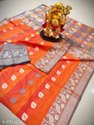 Banarasi Silk Traditional Wear Orange Sarees With Blouse Piece