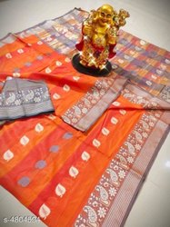 Banarasi Silk Traditional Wear Orange Sarees With Blouse Piece