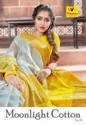 Vinamra Presents Moonlight Cotton Part 1 Saree, 5.5 m (Separate Blouse Piece)