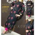 3/4th Sleeve Ladies Rayon Printed Kurti, Size: 38-46