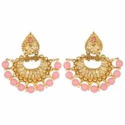 Asmita Gold Chandbali Chandelier Earrings
