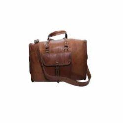 Vintage Brown Leather Duffle Travel Bag
