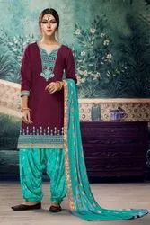 Ethnic Satin Glaze Embroidered Patiala Salwar Suit