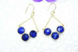 Dyed Sapphire Gemstone Natural Stones Valentine Micron Gold Plated 925 Sterling Silver Earring