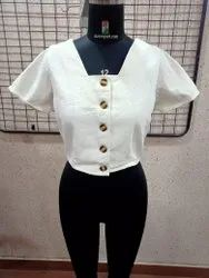 Ladies Cotton Drill Button Top