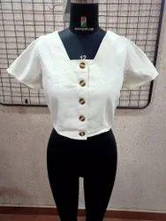 Ladies Cotton Drill Button Top