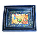 Wooden Blue Color Tray Set Of 3 Handpainted Handmade Home Decor,Serving Tray