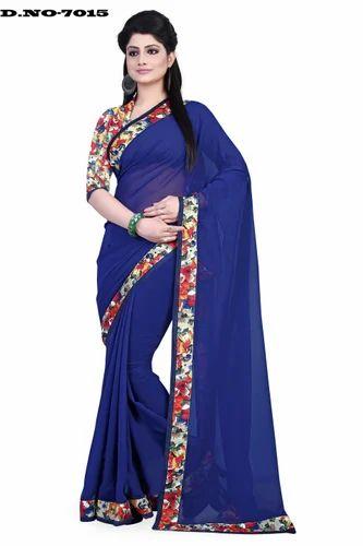 3ec8605d95b361 Nevy Blue Party Wear Latest Plain Georgette Saree, Rs 525 /piece ...