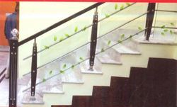 SS Stairs Railing With Glass