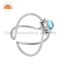 Blue Topaz Gemstone Oxidized Sterling Silver Women's Designer Rings