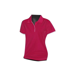 Womens Half Sleeves Polyester Polo Neck T Shirt