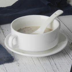 White Glass Ceramic Soup Bowl
