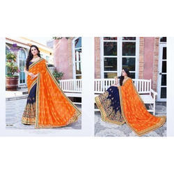 Georgette Party Wear Abinandan Designer Saree, With Blouse Piece