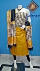 Unstitched Churidar Block Printed Silk Salwar Suit