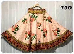 Multicolor Flared Satin Long Digital Printed Skirts