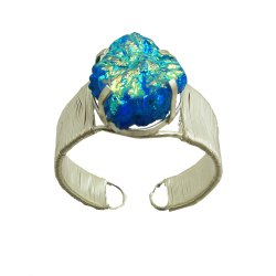 Prong Setting Titanium Druzy Gemstone German Silver Women Cuff Bangle