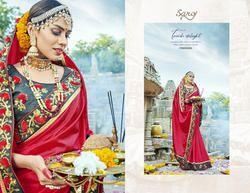 Party Red Designer Printed Sarees
