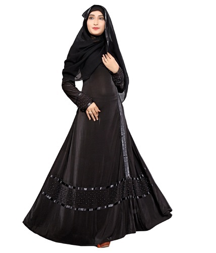 144d0c917da53 Lycra Stretchable Black Satin Lace Work Women Abaya Burkha With Chiffon  Hijab Scarf